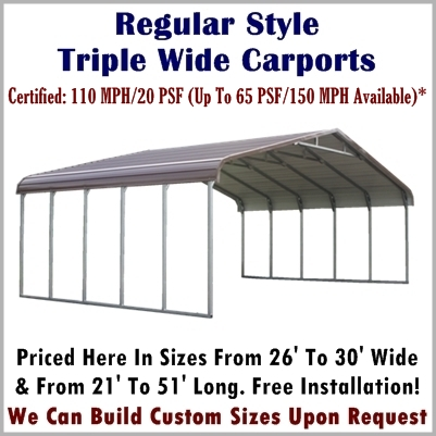 Regular Style Triple Wide Metal Carport prices