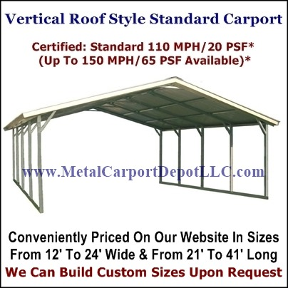 Vertical Roof Style Metal Carports